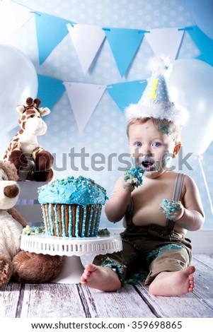 Baby cake smash - stock photo