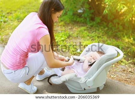 Baby car seat - stock photo