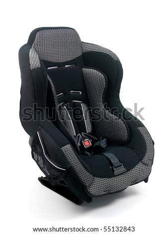 Baby car seat isolated against a white background - stock photo