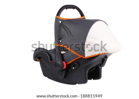 Baby car seat. Isolated on a white background. - stock photo