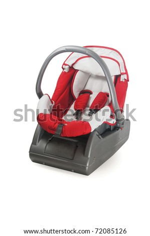 Baby car seat isolated on white - stock photo