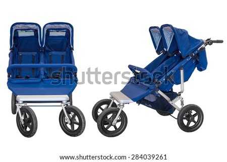 baby carriage for twins isolated on a white background - stock photo