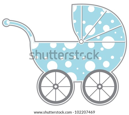 Baby Carriage - Isolated baby carriage silhouette with cute pattern - stock photo