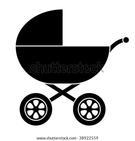 Baby Carriage Silhouette - stock photo