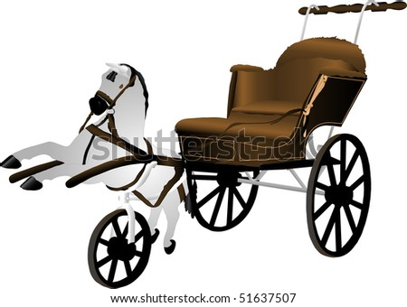 Baby carriage with the horse