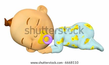 Baby Cartoon Sleeping - stock photo