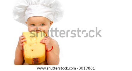 Baby chef and cheese - stock photo