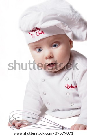 Baby chef on a white background - stock photo
