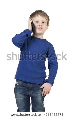 Baby, child boy call, talking, plays on tablet, cell, mobile phone isolated on white background.