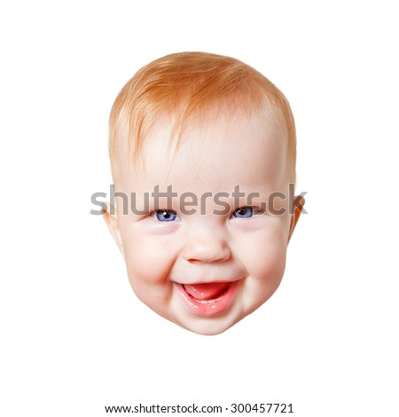 Baby Child Face Smiling Happy Isolated on White - stock photo