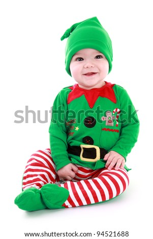 Baby Christmas Elf - stock photo