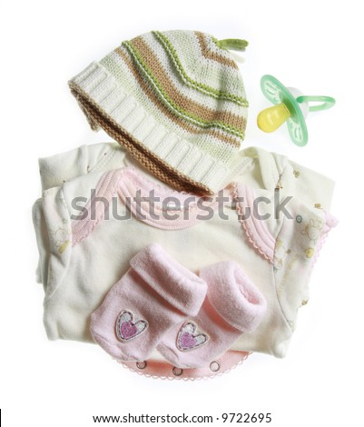 Baby clothes and other baby things. - stock photo