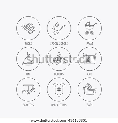 Baby clothes, bath and hat icons. Pram carriage, spoon with drops linear signs. Socks, baby toys and bubbles flat line icons. Linear colored in circle edge icons. - stock photo