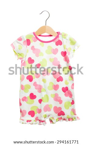 Baby clothes bodysuit polka dot texture colorful back view in clothes hanger, isolated on white background. - stock photo