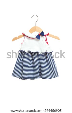 Baby clothes dress bodysuit with stripe pattern texture ruff front view in clothes hanger, isolated on white background. - stock photo