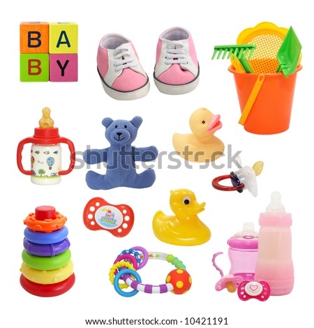 baby collection isolated on a white,cut out,shadeless - stock photo