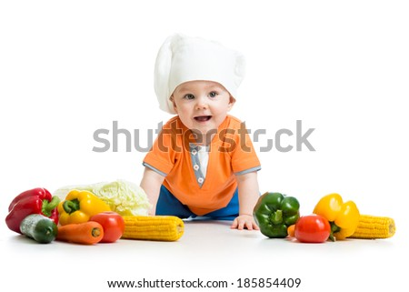 baby cook with healthy  food vegetables - stock photo