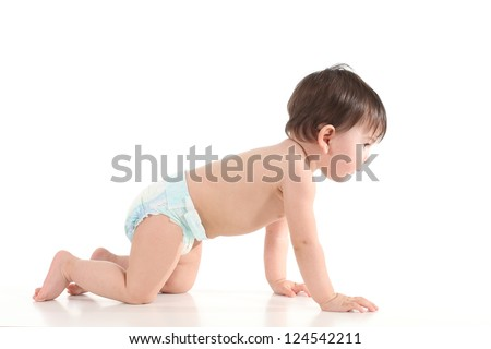 Baby crawling and watching front in a white isolated background - stock photo