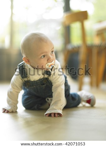 Baby crawling with pacifier in mouth. Vertically framed shot. - stock photo