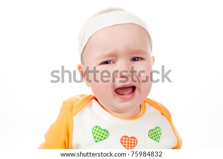 baby cries isolated on white background