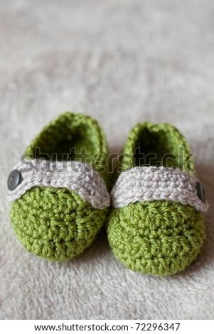 baby crochet shoes - stock photo