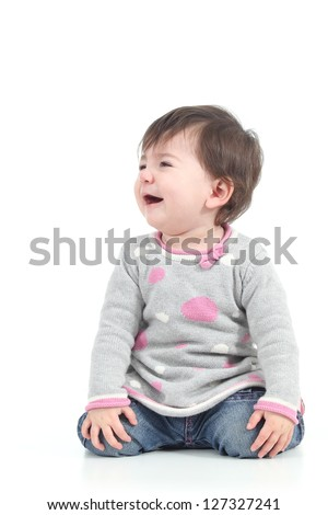 Baby crying in tears on a white isolated background