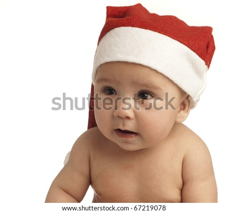 baby crying with christmas hat on white background