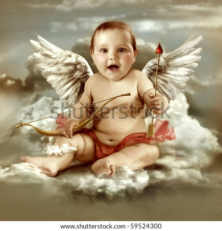 Baby cupid with angel wings - stock photo