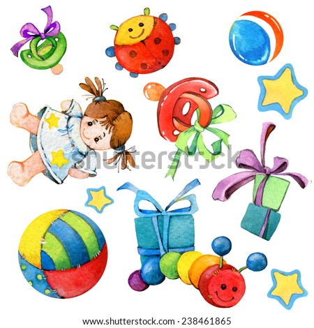 baby decor for kid holiday greetings. watercolor illustration - stock photo