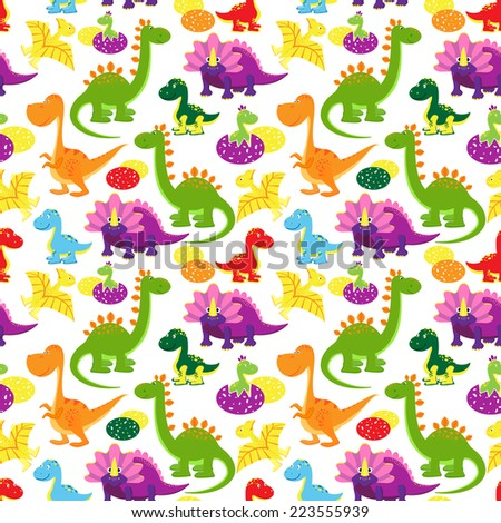 baby dinosaurs seamless pattern, kids background - stock photo