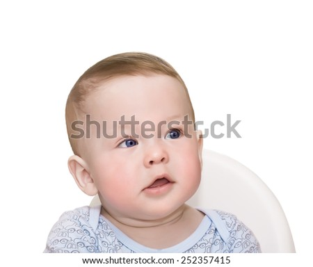 Baby dreams isolated on the white - stock photo