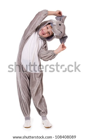 Baby dressed in a elephant costume on white background - stock photo