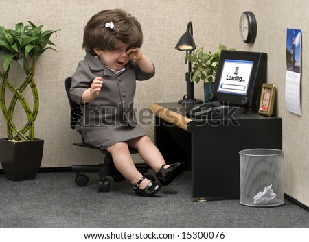 Baby Dressed Professional Office Attire Crying Stock Photo ...