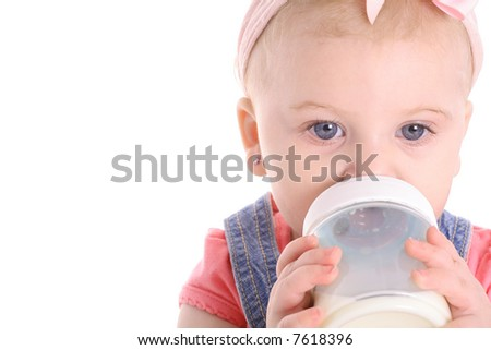 baby drinking bottle copyspace - stock photo