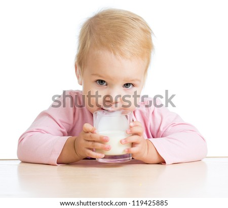 baby drinking yogurt or kefir over white - stock photo
