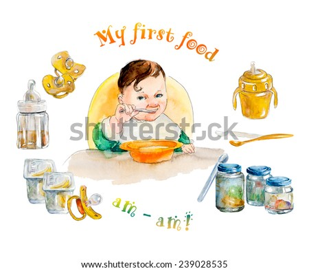 Baby eating. My first food. Newborn food. Set of accessories for baby. Watercolor hand drawn composition. Illustration - stock photo