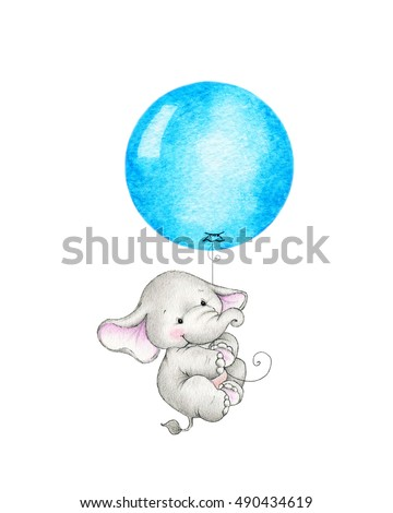 Baby elephant flying on balloon