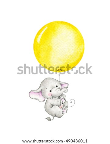 Baby elephant flying on yellow balloon