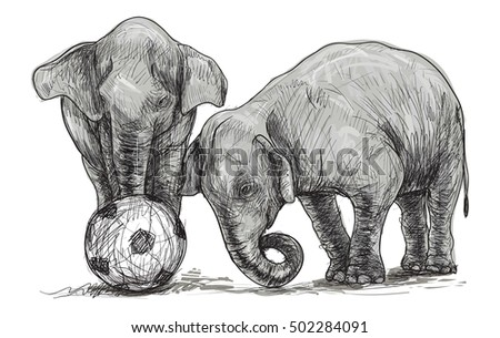 baby elephant playing football, sketch and free hand draw illustration