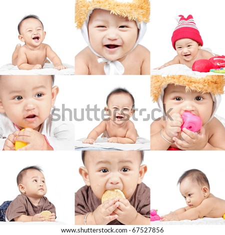 Baby faces - stock photo
