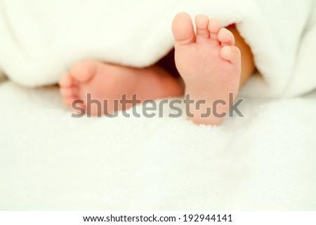 baby feet close up - stock photo