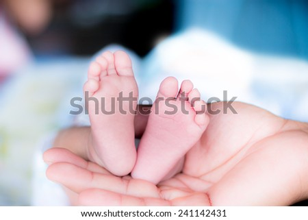 Baby feet cupped into fathers hands.  - stock photo