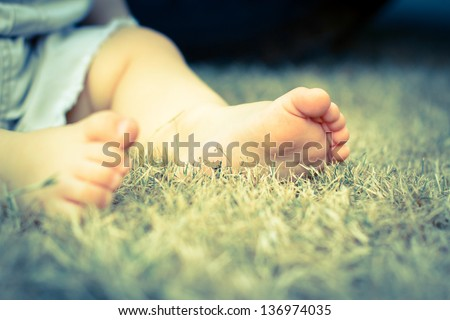 Baby feet in grass - stock photo