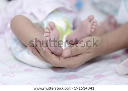 Baby feet in mother hands. - stock photo