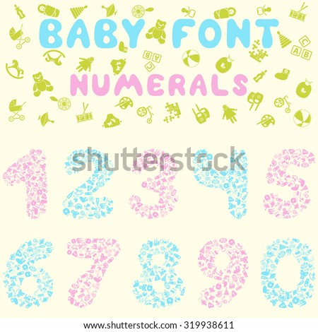 Baby font design.  Raster illustration.
