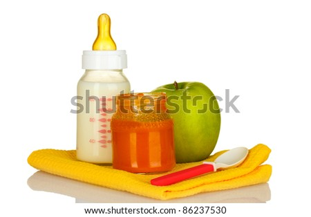baby food, bottle and fruit isolated on white