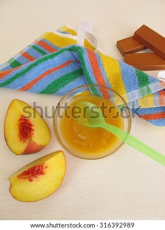 Baby food from peaches for babies and toddlers - stock photo