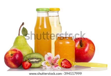 Baby food, puree and fruit juices in glass bottles isolated on white background. - stock photo
