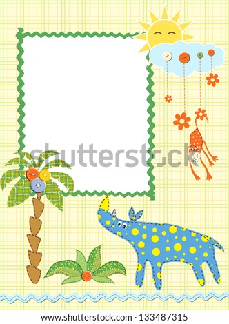 Baby frame or card. Raster version, vector file available in portfolio. - stock photo