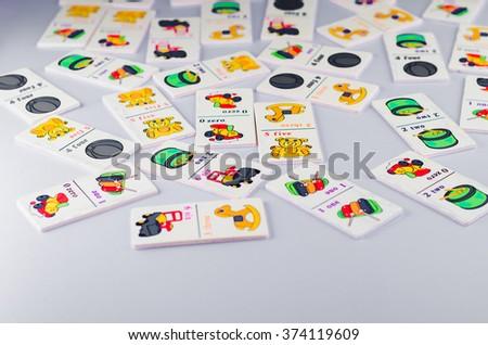 baby game dominoes - stock photo
